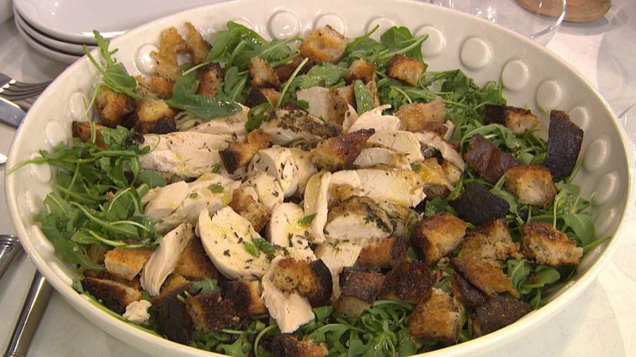 Ina Garten Salads roast chicken over bread and arugula salad - today