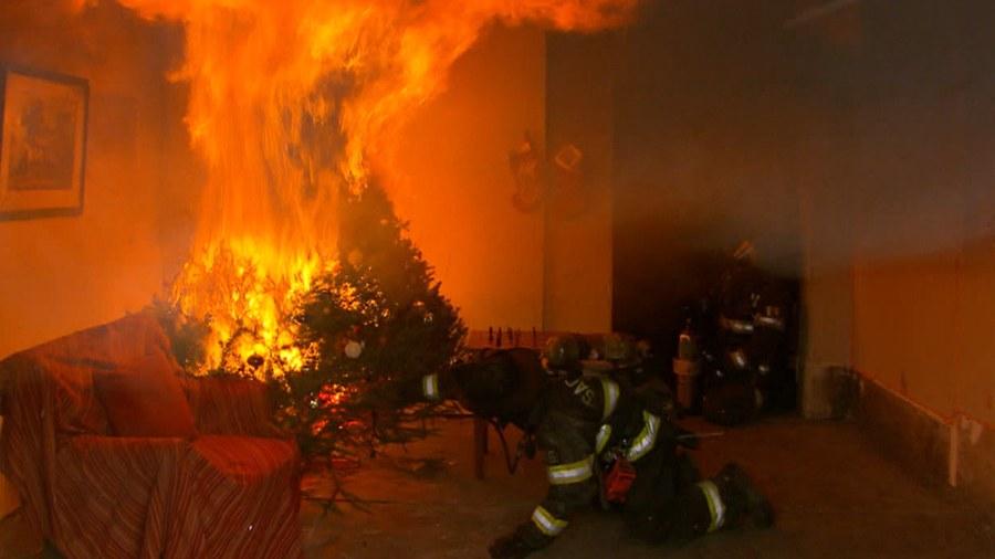 Christmas Tree Living Room Fire
