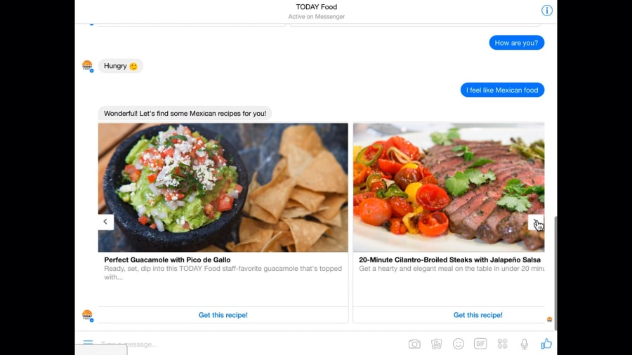 Check out the TODAY Food BOT on Facebook Messenger