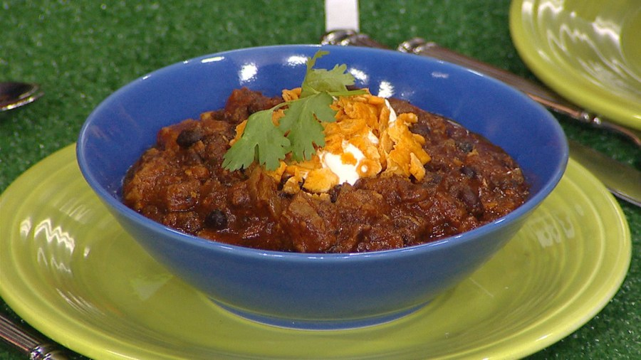 Perfect football-watching food: Coffee-rubbed brisket and black bean chili