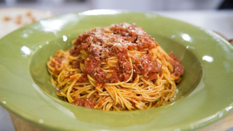 Spaghetti amatriciana, peanut butter squares: Blizzard comfort food