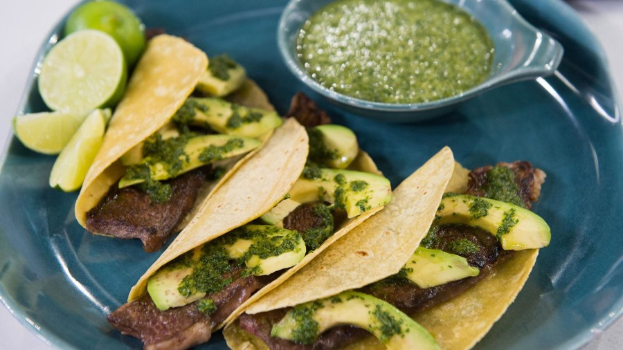 Make these grilled beef tacos with salsa verde for Taco Tuesday