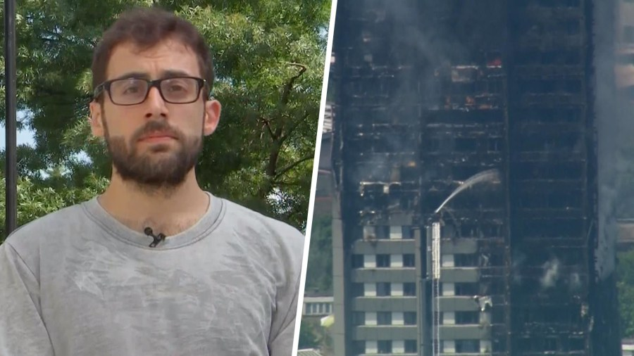 Woman trapped in Grenfell Tower films panic as fire engulfs block
