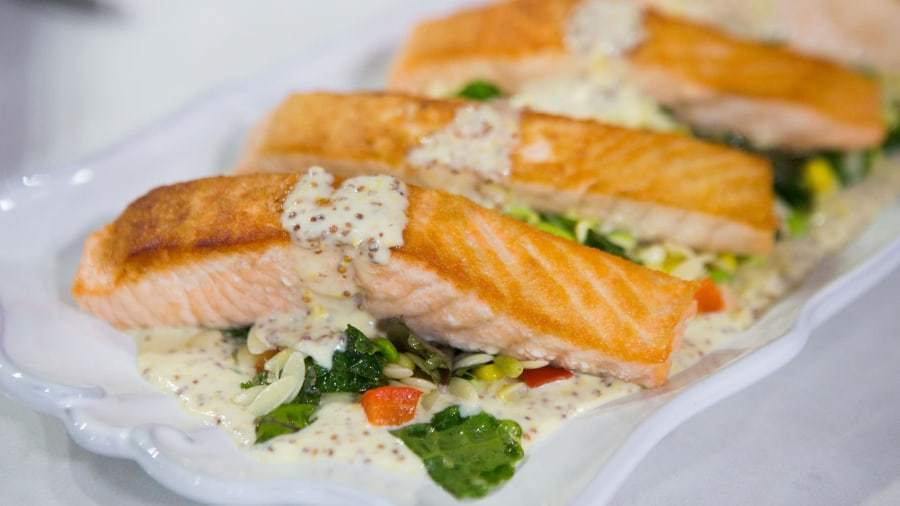 Make Giada De Laurentiis' pan-roasted salmon with summer orzo succotash