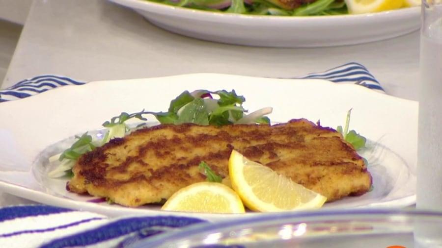 Crispy Oven Baked Flounder Over Arugula And Fennel Salad Today