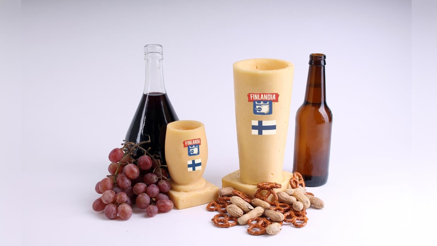 These wine and beer glasses are made entirely out of cheese