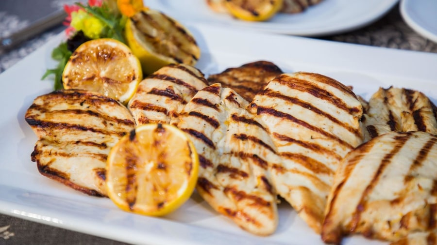 The Grill Dads make lemon chicken paillard and grilled peach salad