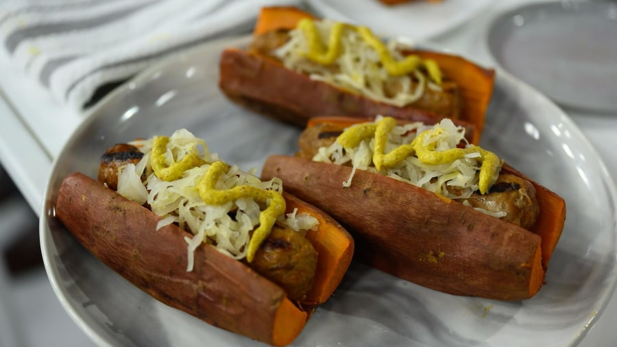 Healthy BBQ recipes: Cabbage slaw and sauerkraut sausages