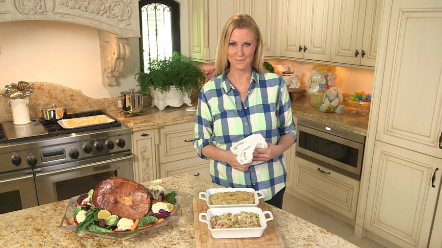 Sandra Lee's pineapple-glazed Easter ham and Parmesan-ham casserole