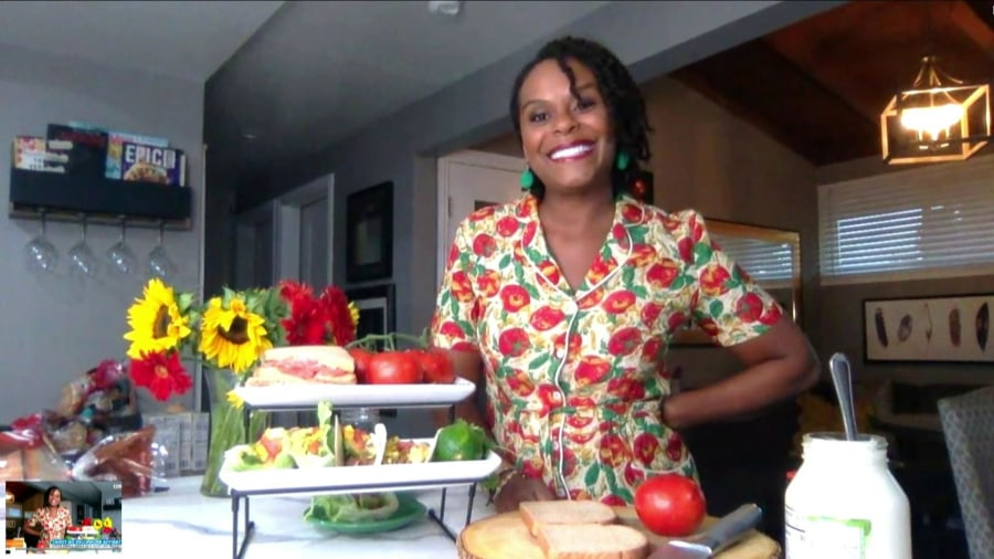 TikTok star Tabitha Brown shows how to make a tomato sandwich