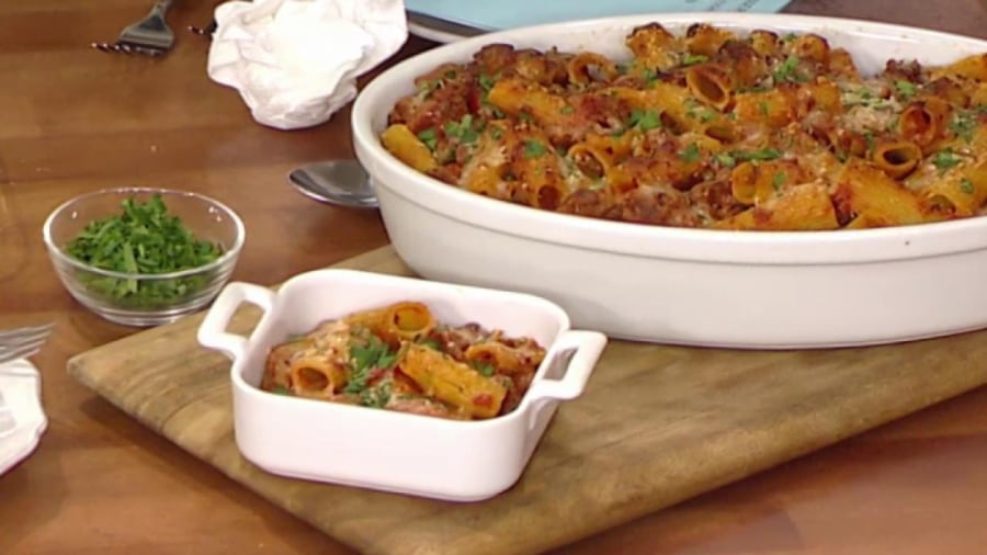 Baked rigatoni with italian sausage peppers and onions for Italian breakfast