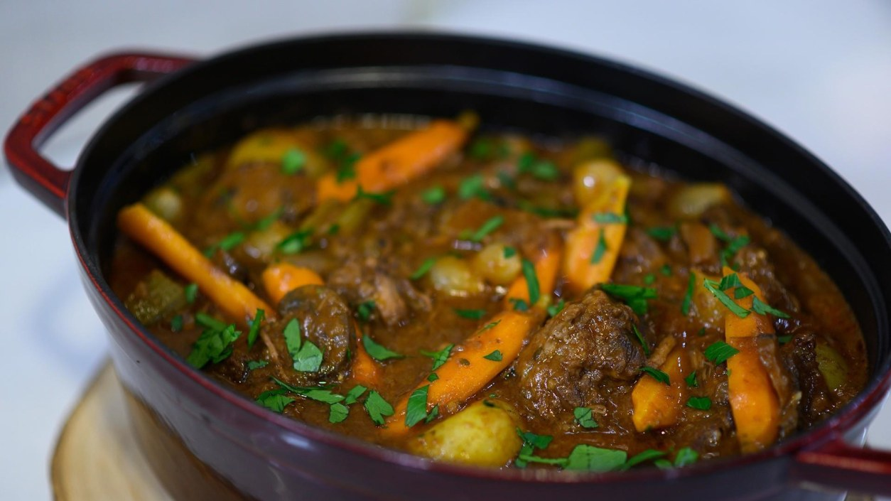 Pinot Braised Beef Stew With Baby Potatoes And Pearl Onions Today Com