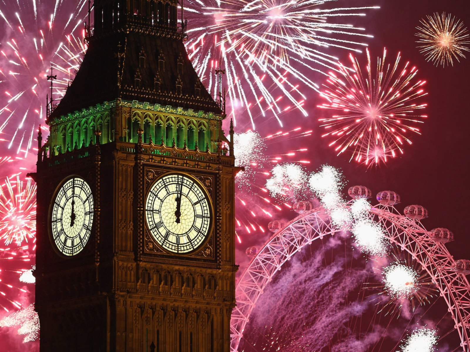 Image: Fireworks light up the London skyline and Big Ben.