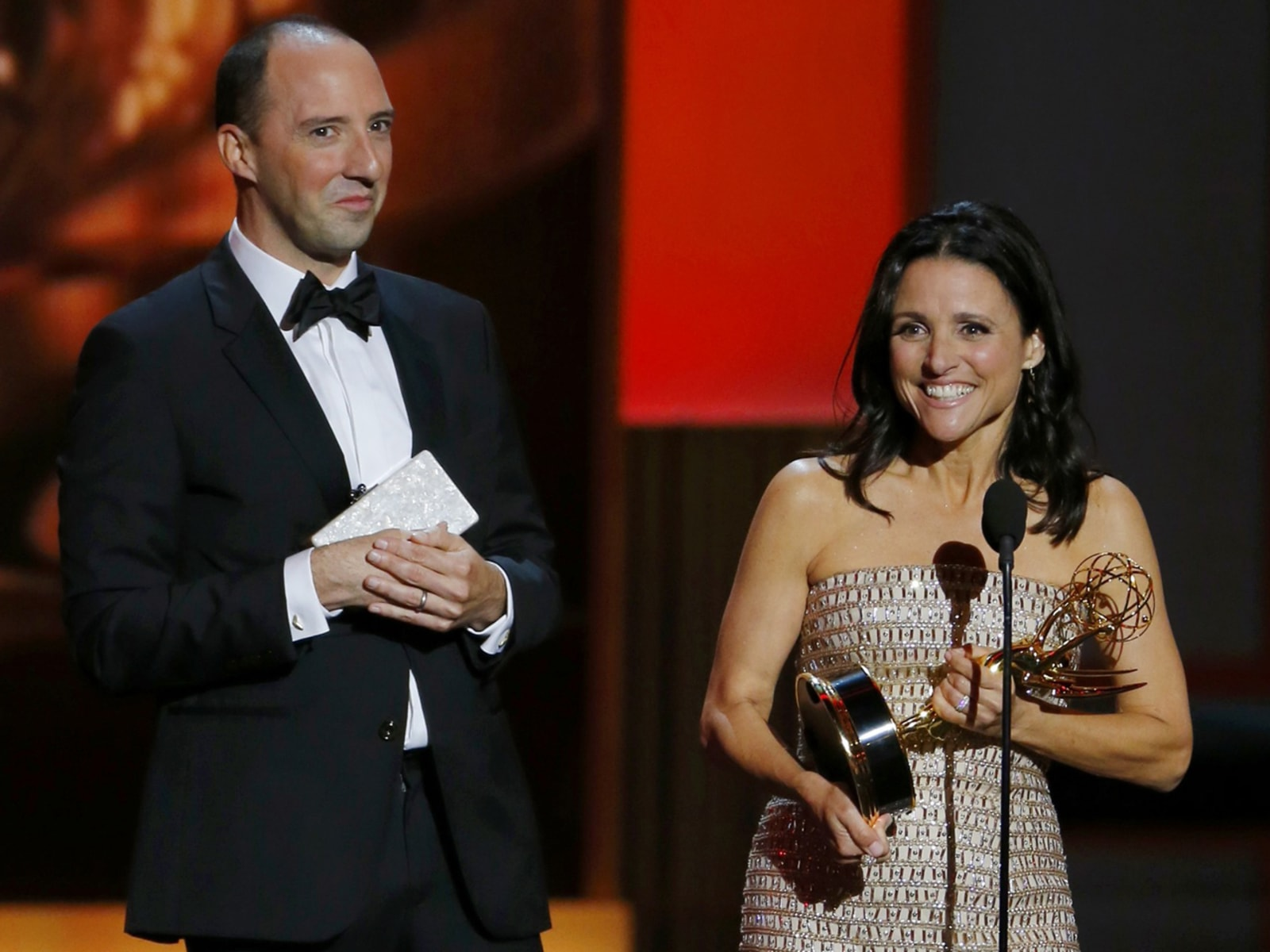 "Image: Louis-Dreyfuss accepts the award for Outstanding Lead Actress In A Comedy Series for her role in HBO's ""Veep"" as co-star Hale looks on at the 65th Primetime Emmy Awards in Los Angeles."