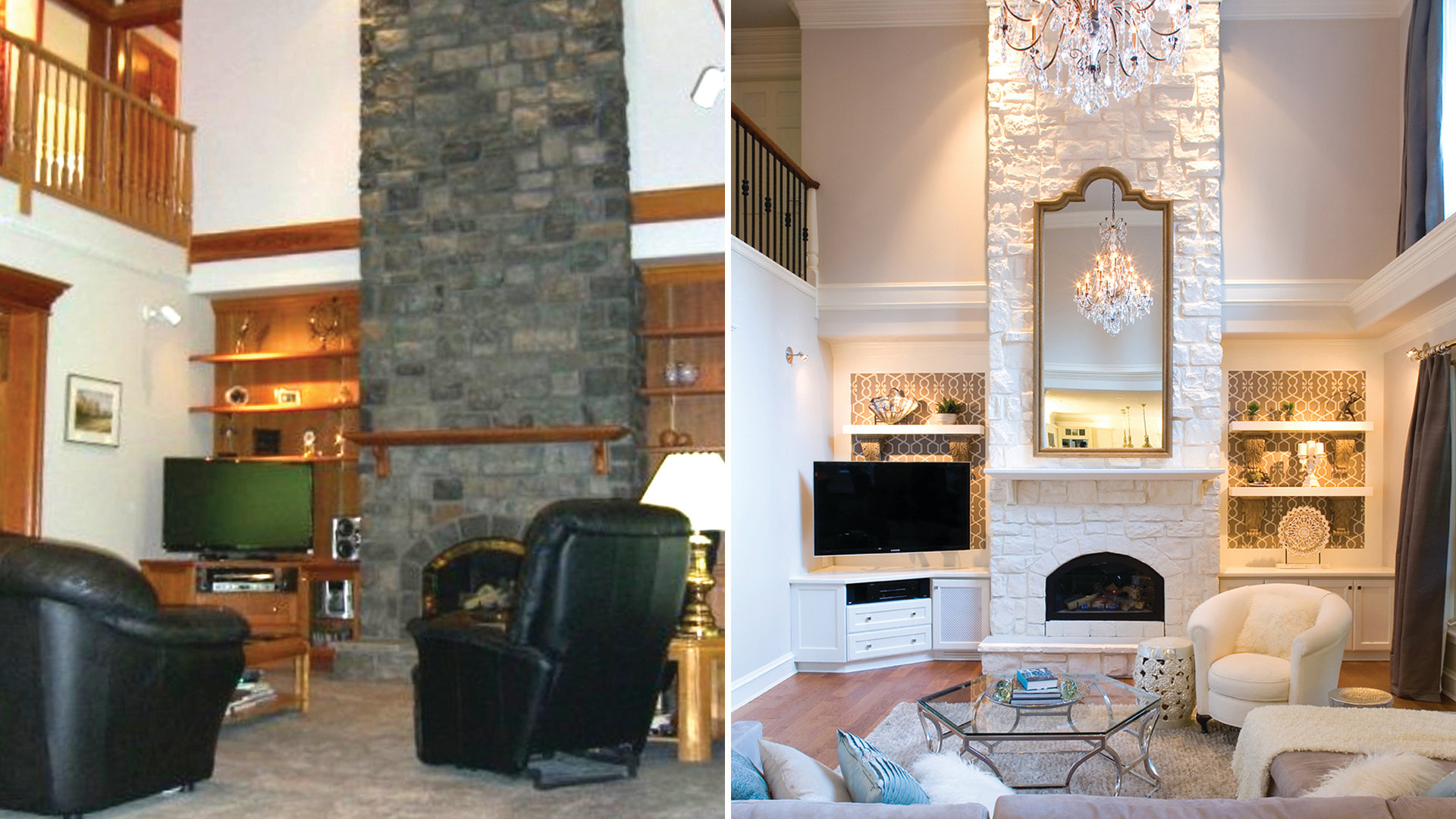 Before And After Interior Design Photos Living Room Makeovers Interior Designers Share Beforeandafter