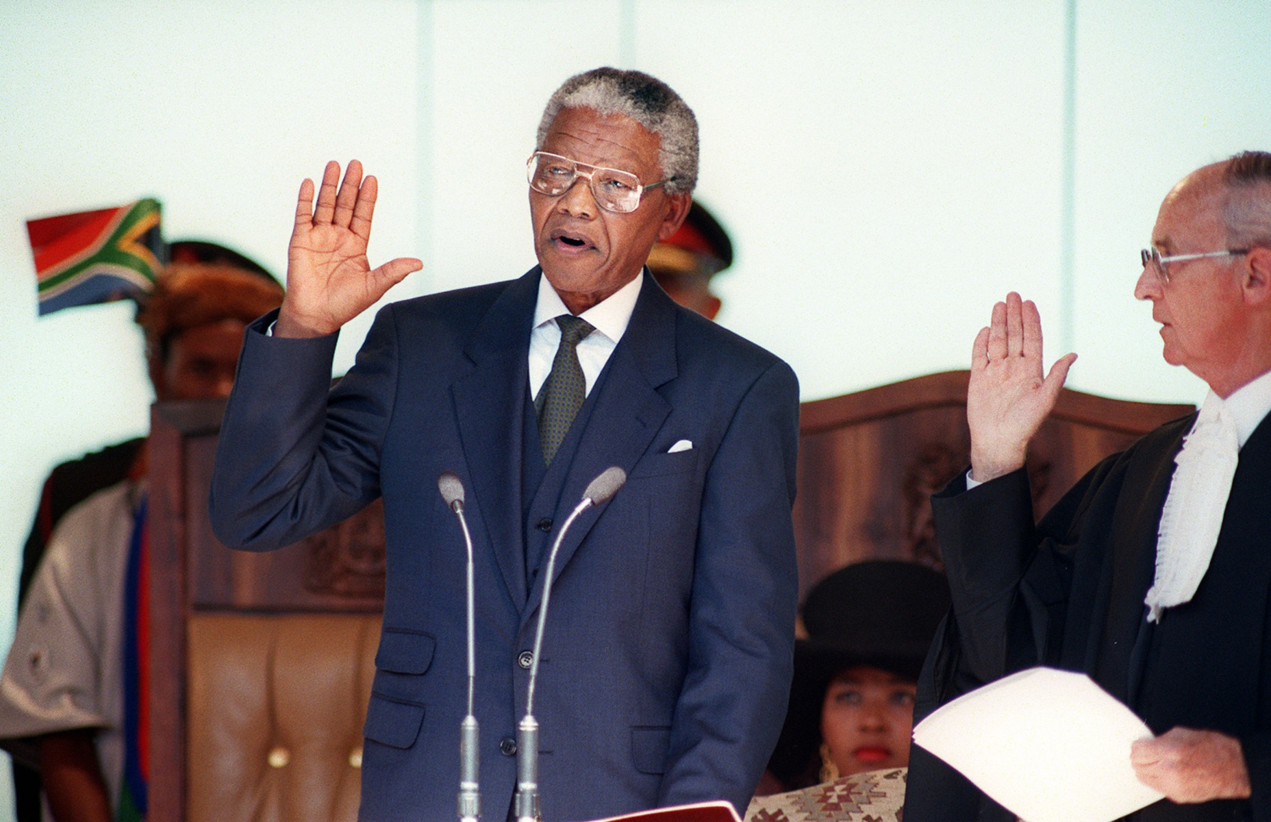 Image result for mandela takes the oath of office in 1994