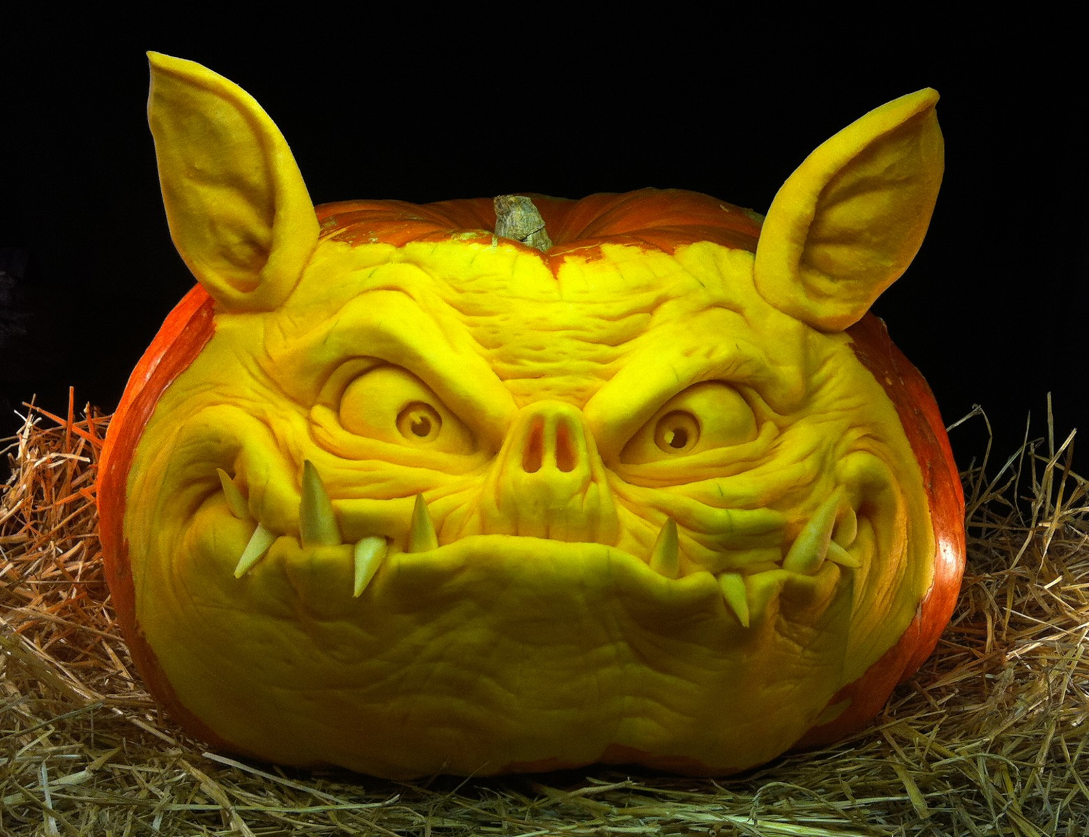 Ghoulishly Grand Carved Pumpkins