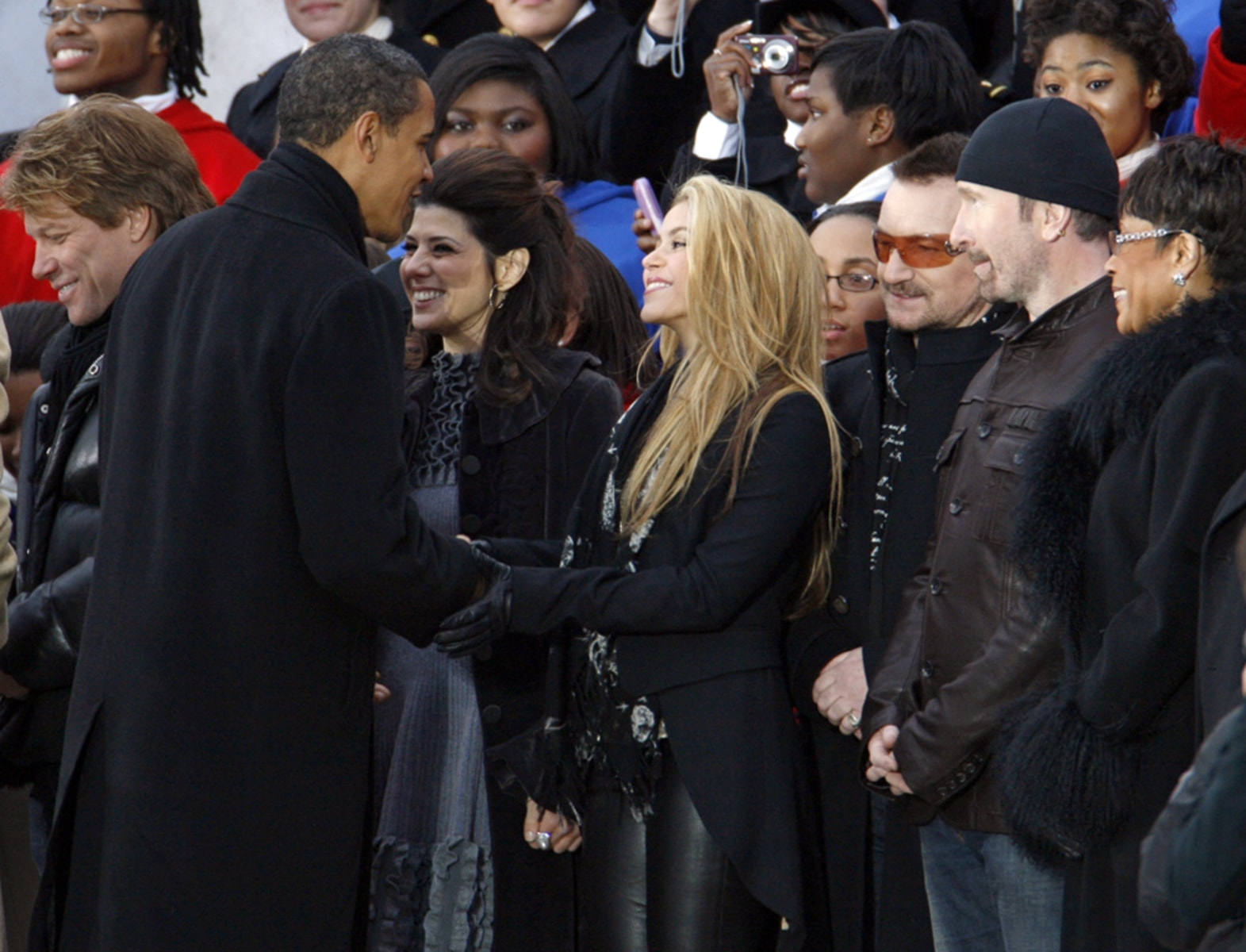 President-elect Obama greets Jon Bon Jovi, Marisa Tomei, Shakira, Bono, The Edge, Bettye Lavette during the We Are One - Opening Inaugural Celebration at the Lincoln Memorial in Washington