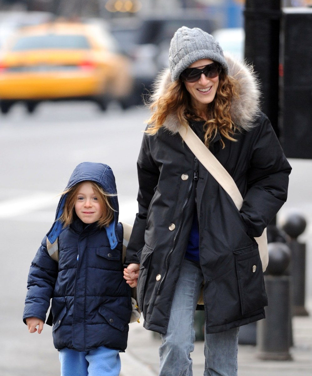 Sarah Jessica Parker out for a walk with her son in NYC