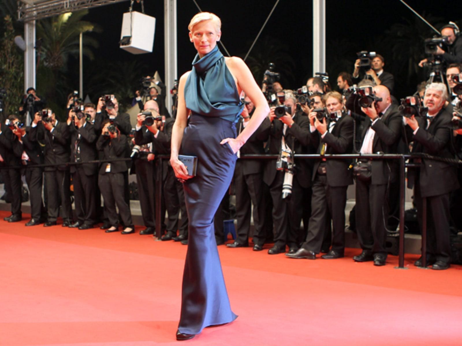 British actress Tilda Swinton poses on t