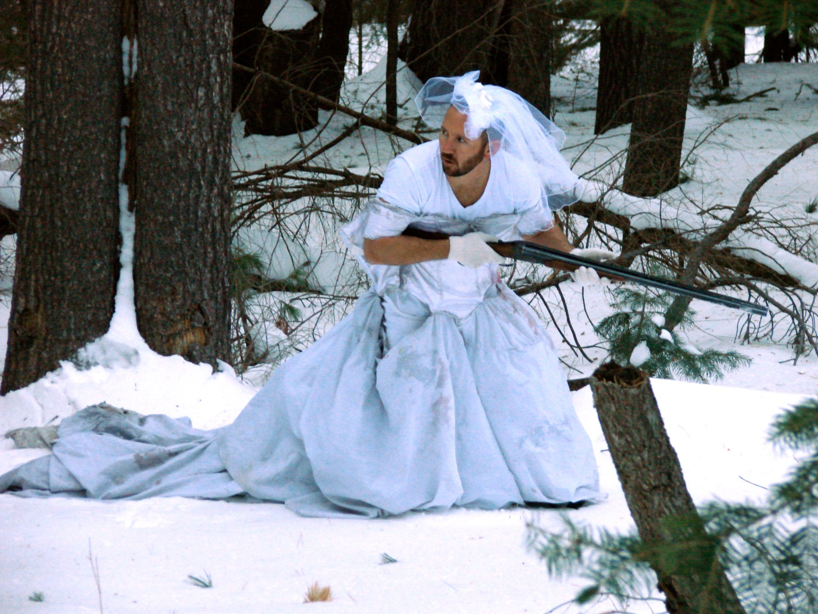 punching bag fishing net new uses exs wedding dress blue camo wedding dresses New uses for an ex s wedding dress