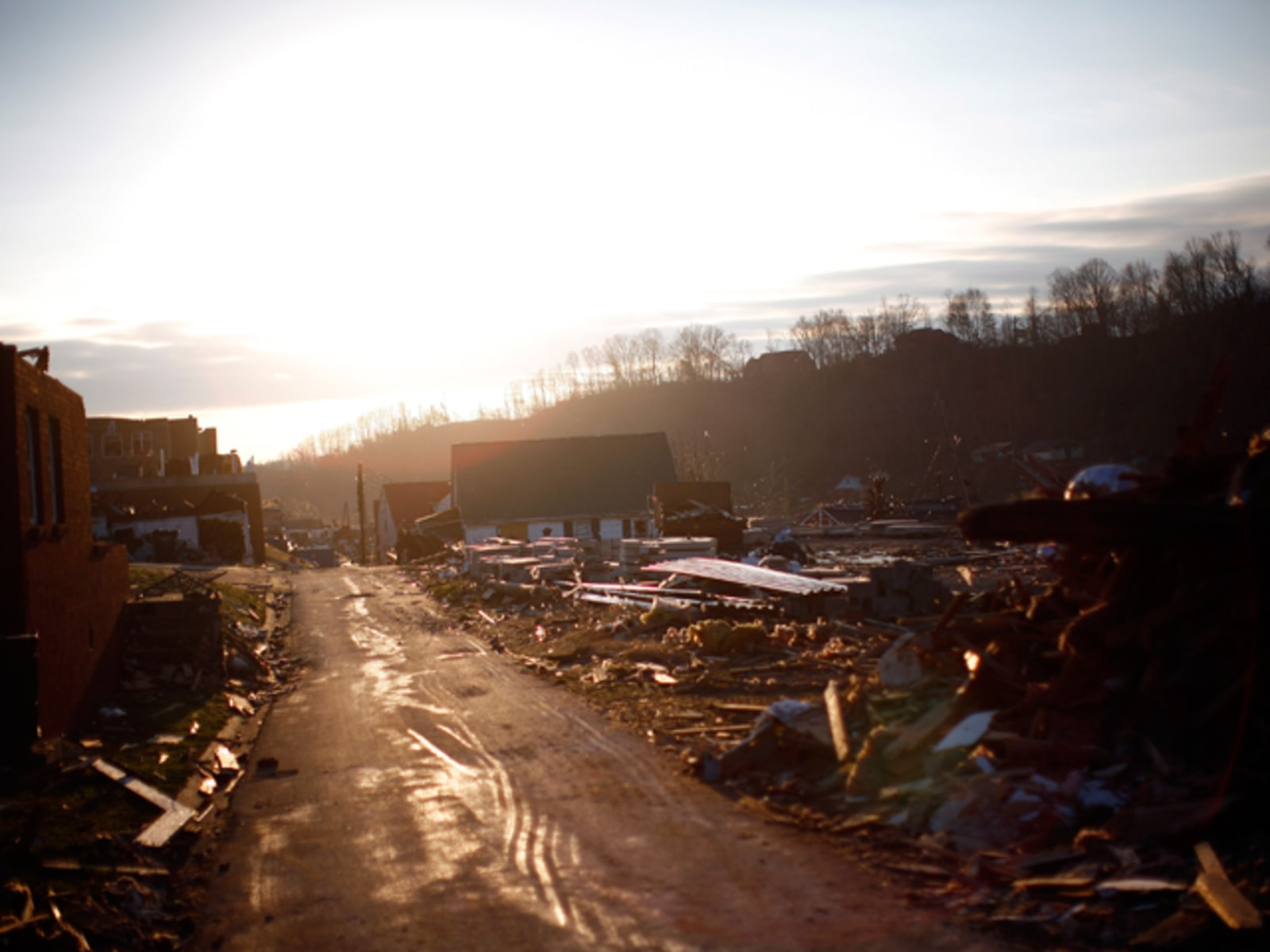 Image: Buildings damaged by a chain of tornadoes are seen in West Liberty, Kentucky