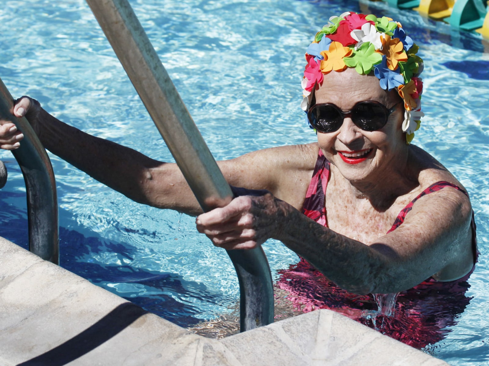 Image: Edith McAllister in swimming pool