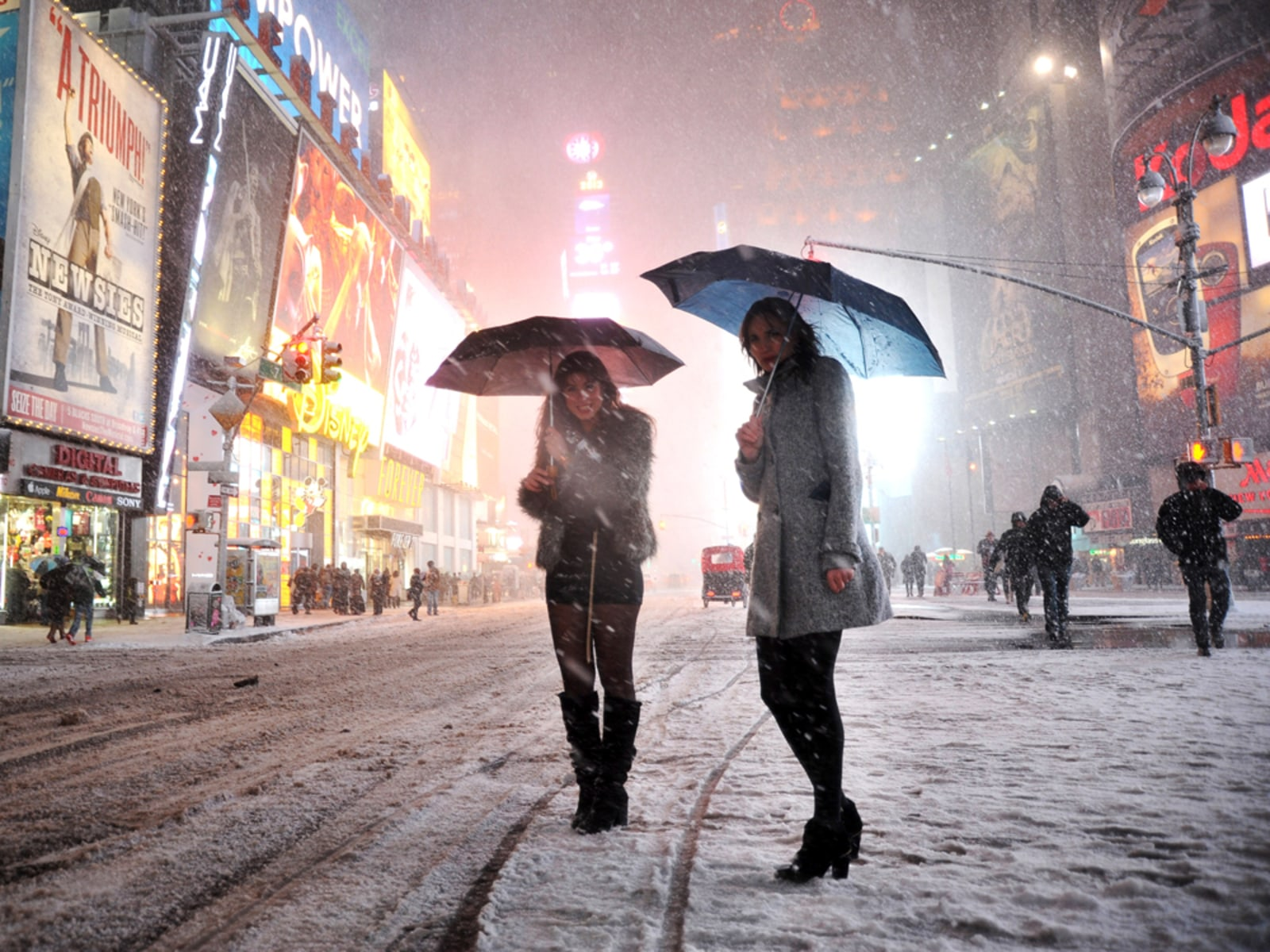 Image: New York City's Times Square during a recent blizzard.