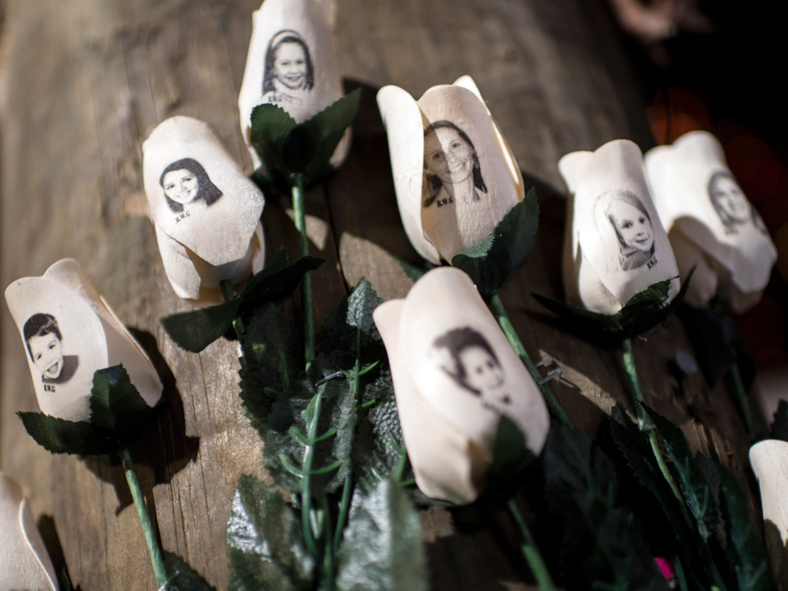 Image: Victims of the Sandy Hook Elementary School shooting are seen on artificial roses at a roadside memorial.
