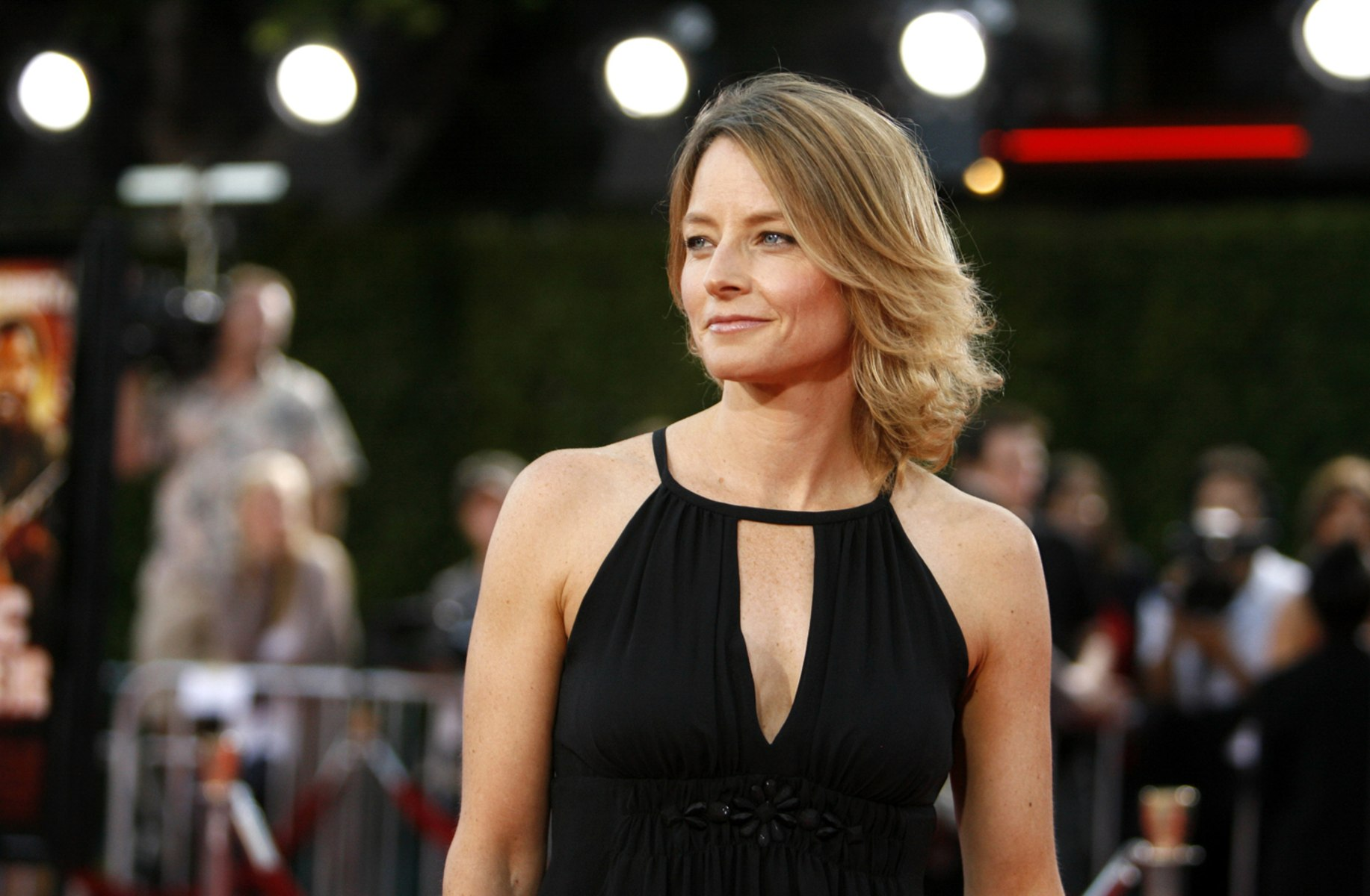 "Image: Actress Jodie Foster poses during premiere of ""Tropic Thunder"" in Westwood"