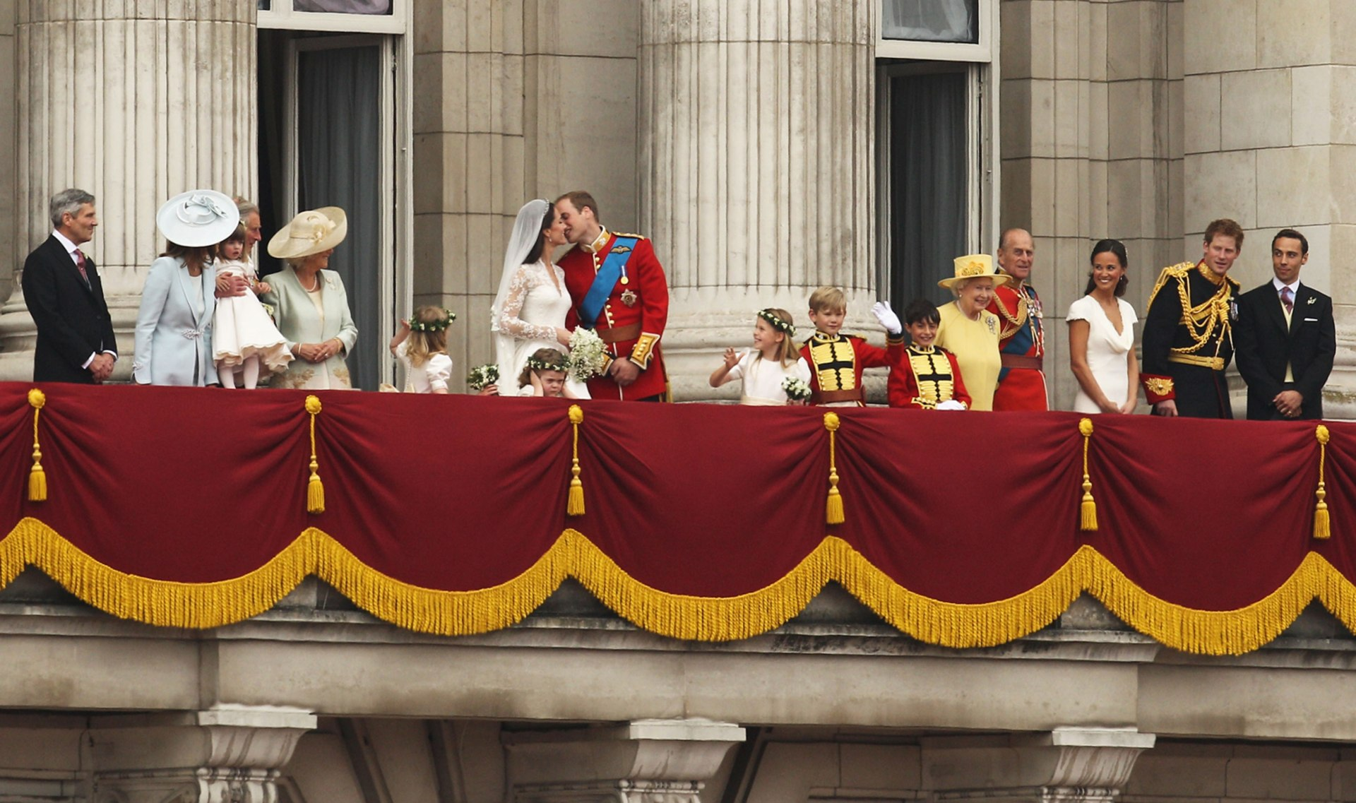 Prince philip looks like grandson prince harry in 1957 for Queens wedding balcony