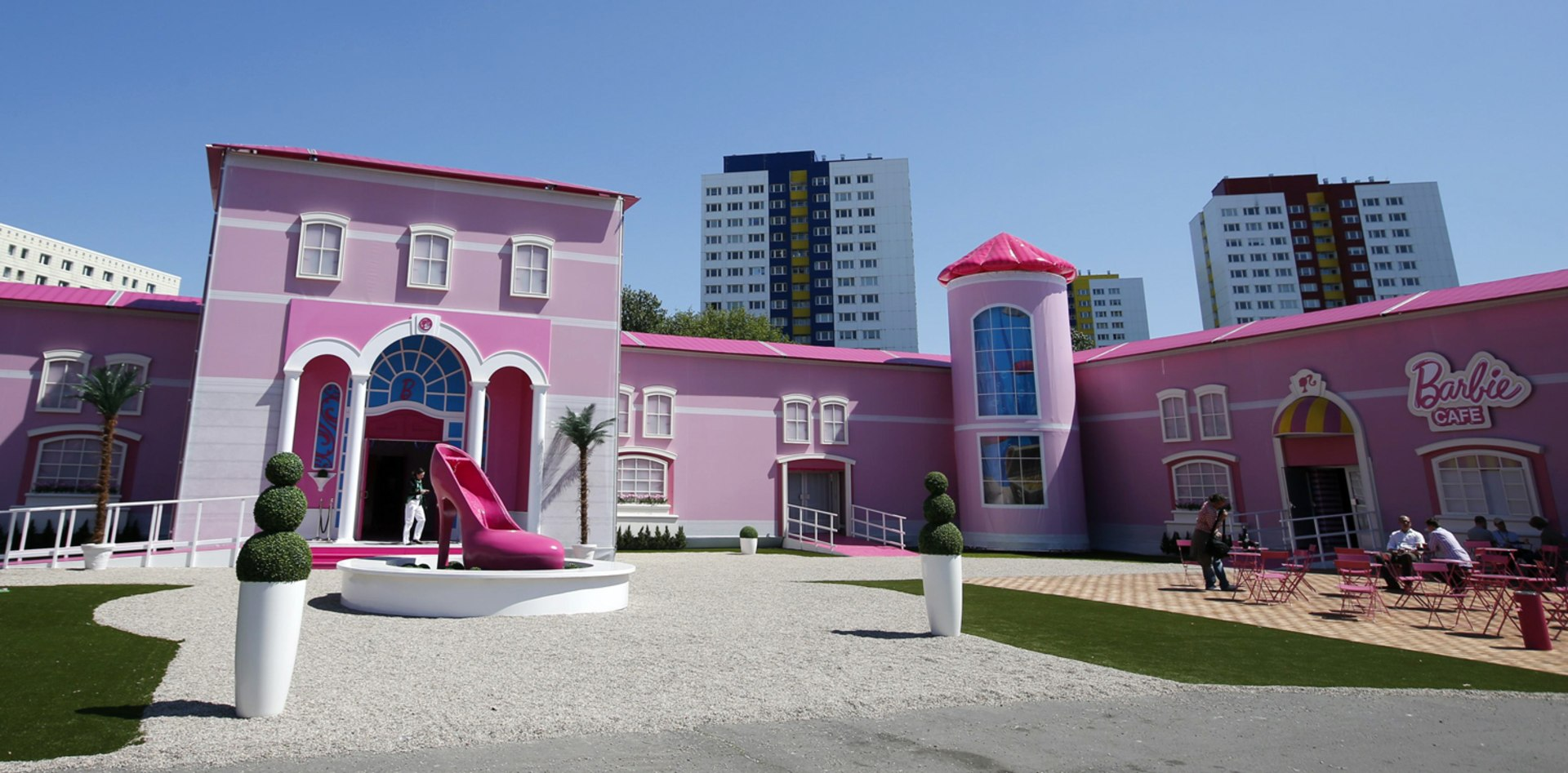 "Image: A general view shows a ""Barbie Dreamhouse"" of Mattel's Barbie dolls in Berlin"
