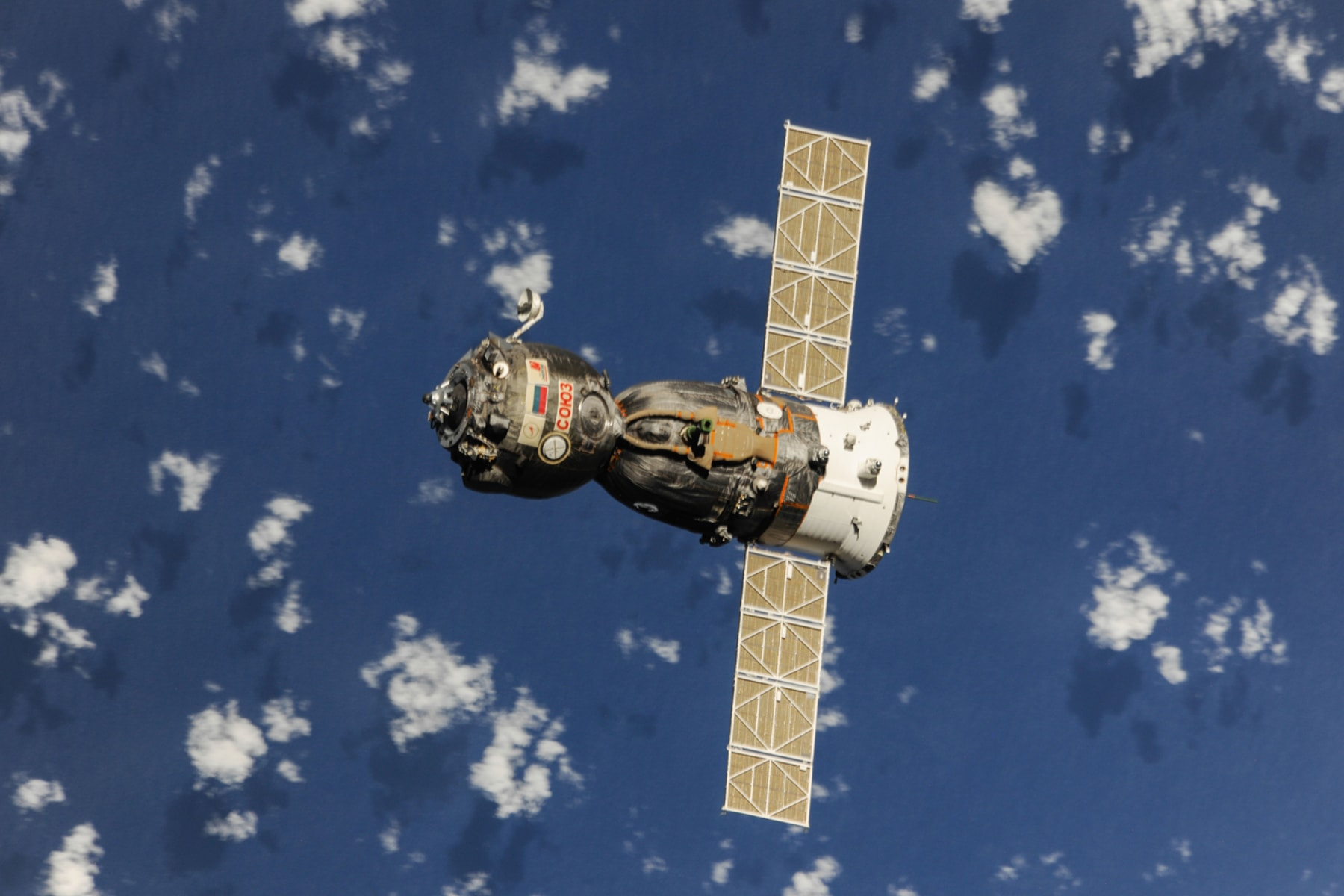 Image: The Soyuz TMA-08M spacecraft departs from the International Space Station's Poisk Mini-Research Module 2 (MRM2) and heads toward a landing in a remote area near the town of Zhezkazgan, Kazakhstan, on Sept. 11, 2013 (Kazakhstan time). Russian cosmon