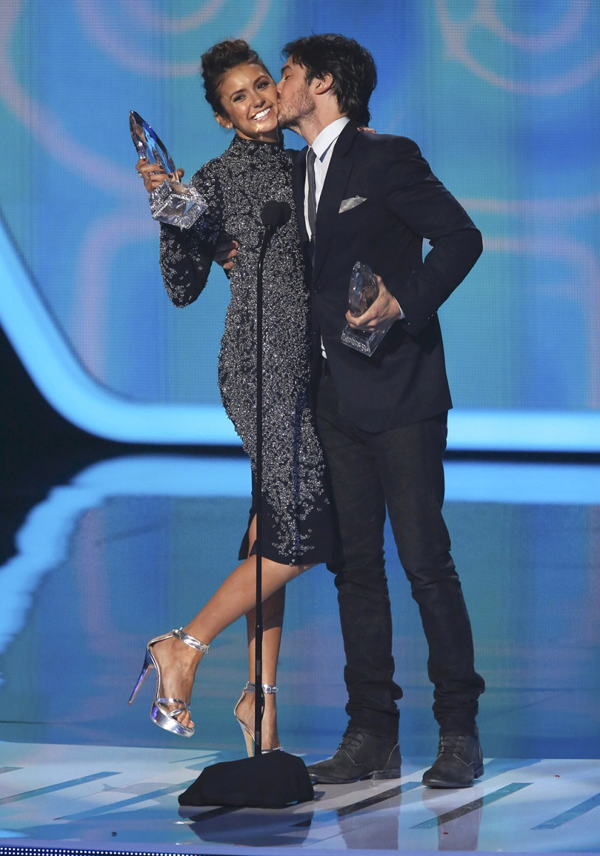"Image: Dobrev and Somerhalder accept the award for favorite on-screen chemistry for their show ""The Vampire Diaries"" at the 2014 People's Choice Awards in Los Angeles"
