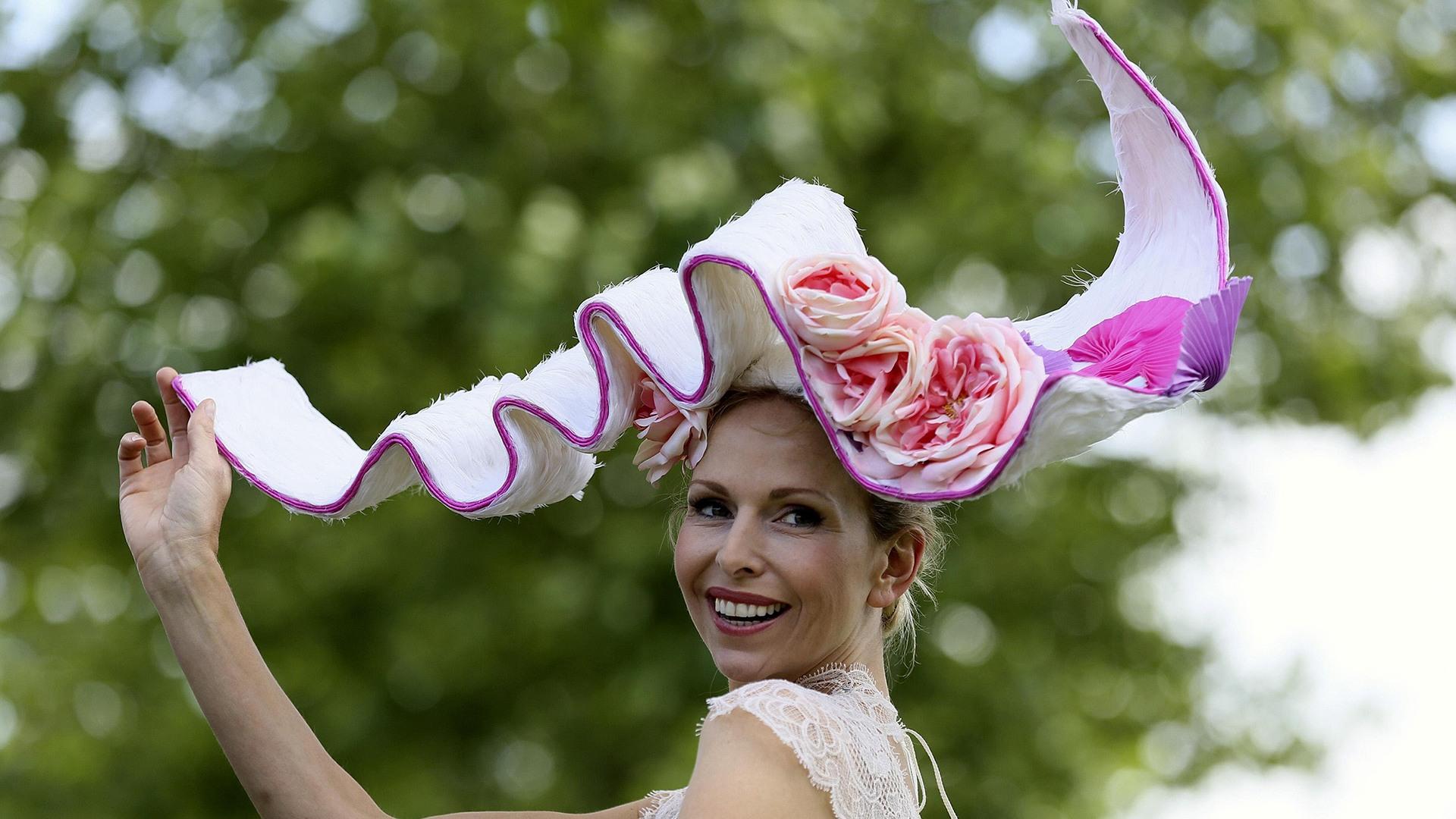 Image: Anneka Tanaka-Svenska poses at the Royal Ascot horse racing festival in Ascot