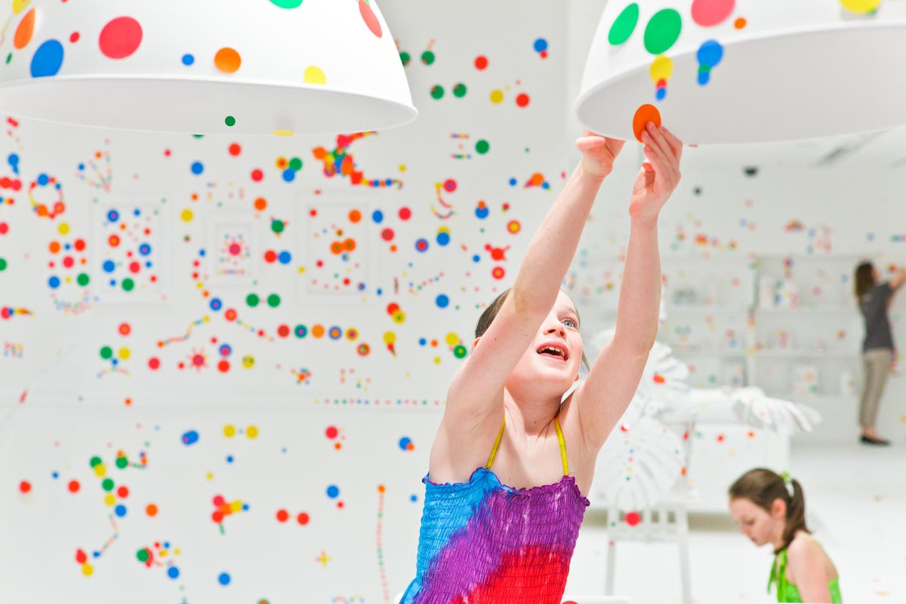 Obliterated Kids Go Nuts With Polka Dot Stickers In Art
