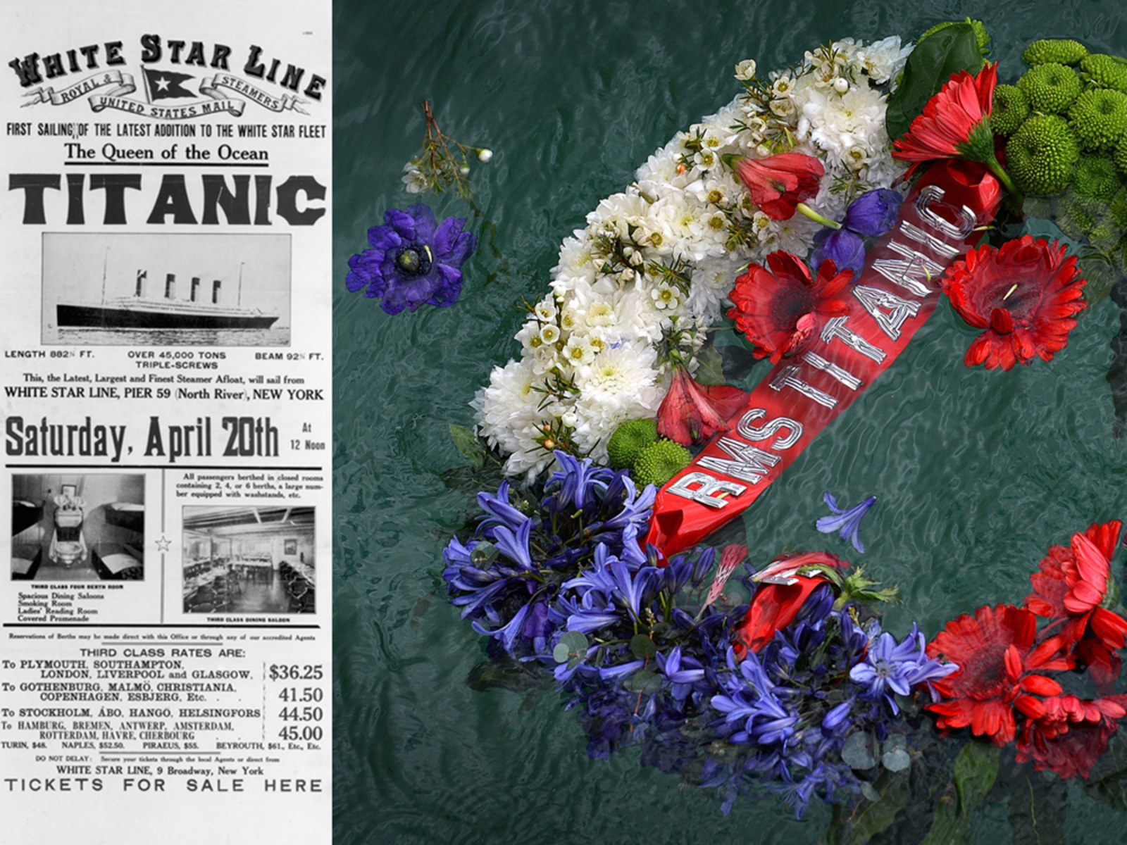Image: A 1912 advertisement for the British luxury passenger liner 'Titanic; The Titanic, White Star, Liner on the stocks in Harland & Wolff's shipyard, Belfast, Northern Ireland; A wreath floats in berths 43/44 from where the RMS Titanic set sail on its