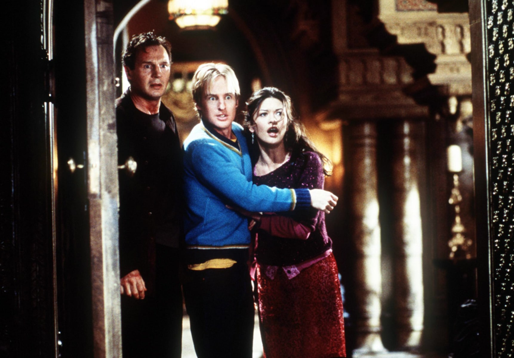 Dr David Marrow (Liam Neeson Luke (Owen Wilson And Theo (Catherine Zeta Jones Watch In Horror A