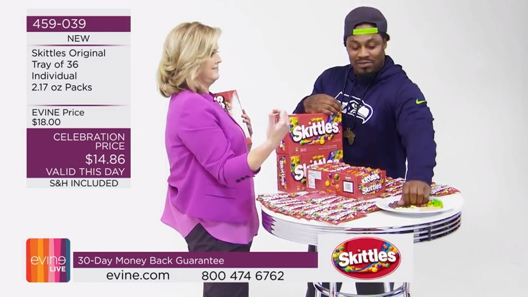 Marshawn Lynch sells skittles on a home-shopping channel