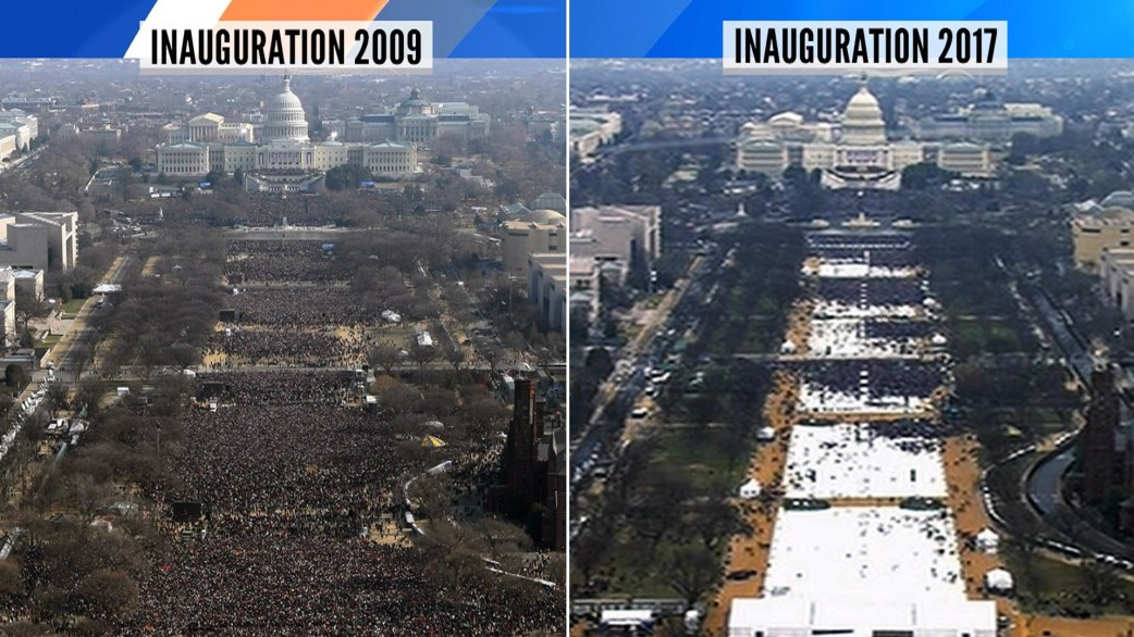 Tweet comparing Obama and Trump's inauguration crowd sizes ...