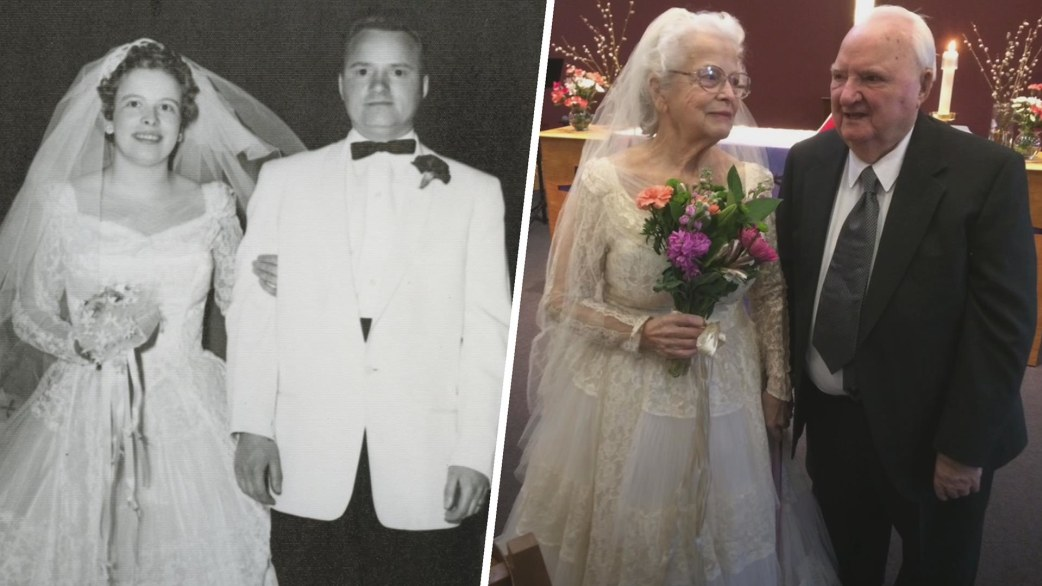 Woman wears wedding dress from to celebrate th anniversary