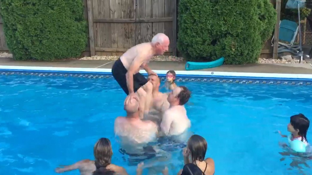 Watch This 79 Year Old Grandpa Do A Backflip Into Swimming Pool   TODAY.com