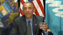 Pres. Obama Drinks Flint's Filtered Water During Visit