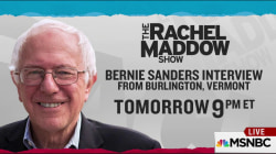 Maddow to interview Bernie Sanders at home