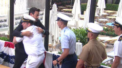 Watch Carson Daly hug it out with service members