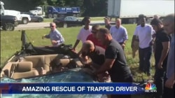 Video Shows Good Samaritans Help Rescue Driver From Overturned Car