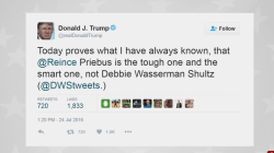 Trump: Priebus the 'smart one', not Wasserman Schultz