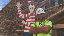 Construction worker plays live action 'Where's Waldo' with kids at children's hospital