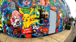 Artist Creates Huge Pokemon-Themed Graffiti Mural