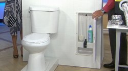 Here's a simple way to hide your toilet brush and plunger